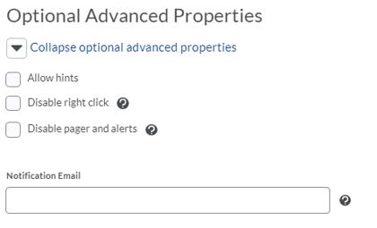 Optional Advance Properties