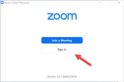 Zoom App - Sign In