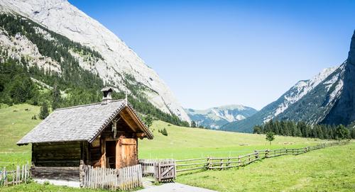 Cabin near a mountain